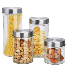 4-Piece Glass Canister Set with Lids