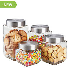 4-Piece Canister Set with Stainless Steel Lids