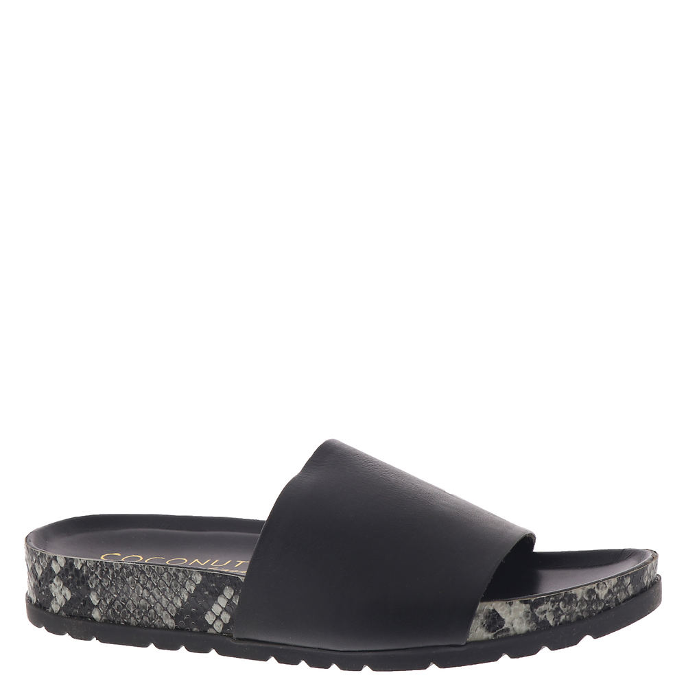 *Leather wide-band upper with snake-print patterned sidewall *Slip-on style *Lightly cushioned footbed *Durable treaded outsole for traction *Available in whole sizes only half sizes please order the next size up