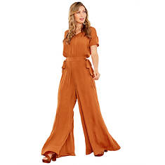 Crinkle Satin Wide-Leg Jumpsuit