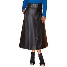 Vegan Leather Snap Skirt