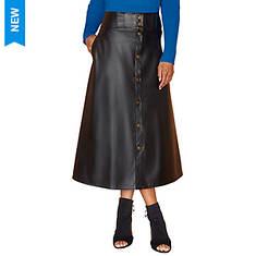 Vegan Leather Snap Skirt