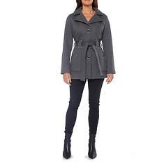 Women's Belted Button-Front Fleece Jacket