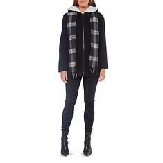 Women's Faux Wool Hooded Jacket With Scarf