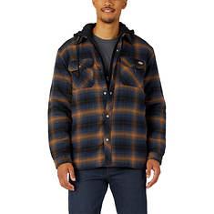 Dickies Men's Fleece Hooded Flannel Shirt Jacket w/Hydroshield