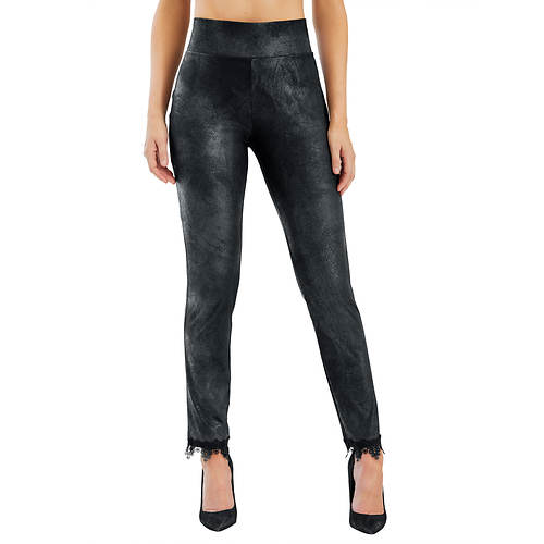 Faux Suede Pants With Lace Trim