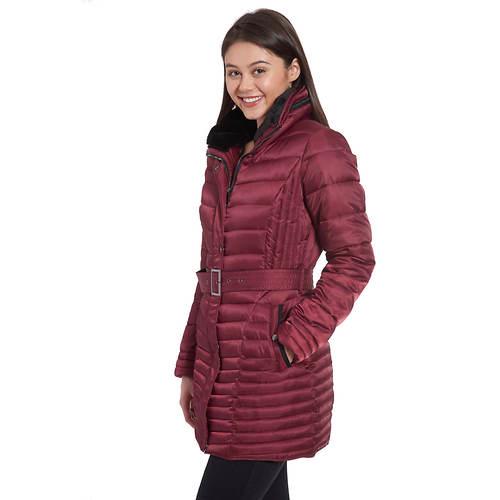 Fleet Street Women's Faux/Down Quilted Jacket w/Belt