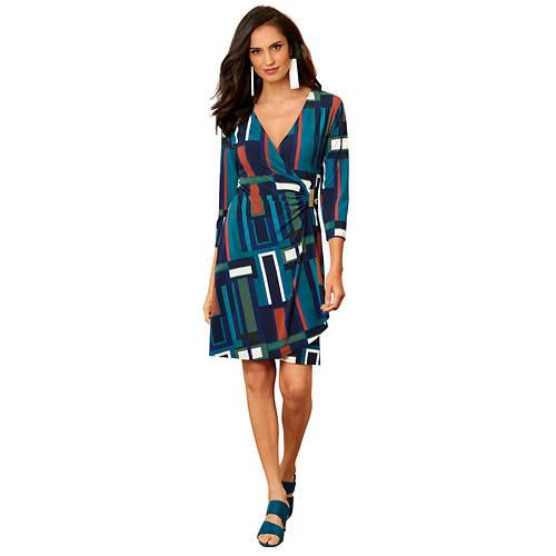 Draped Faux Wrap Dress