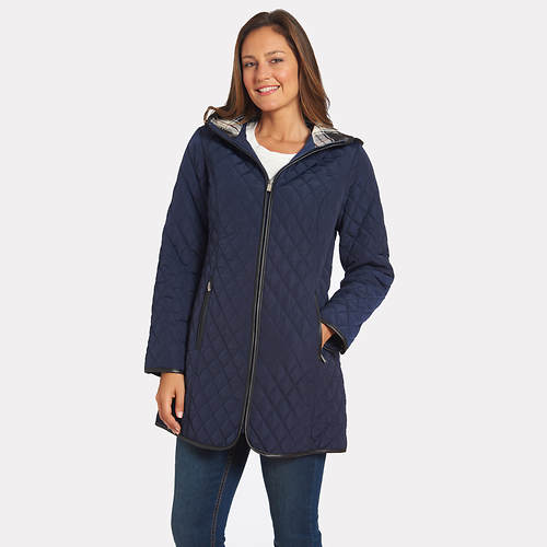 Jones New York Women's Zip Front Hooded Diamond Quilt Jacket