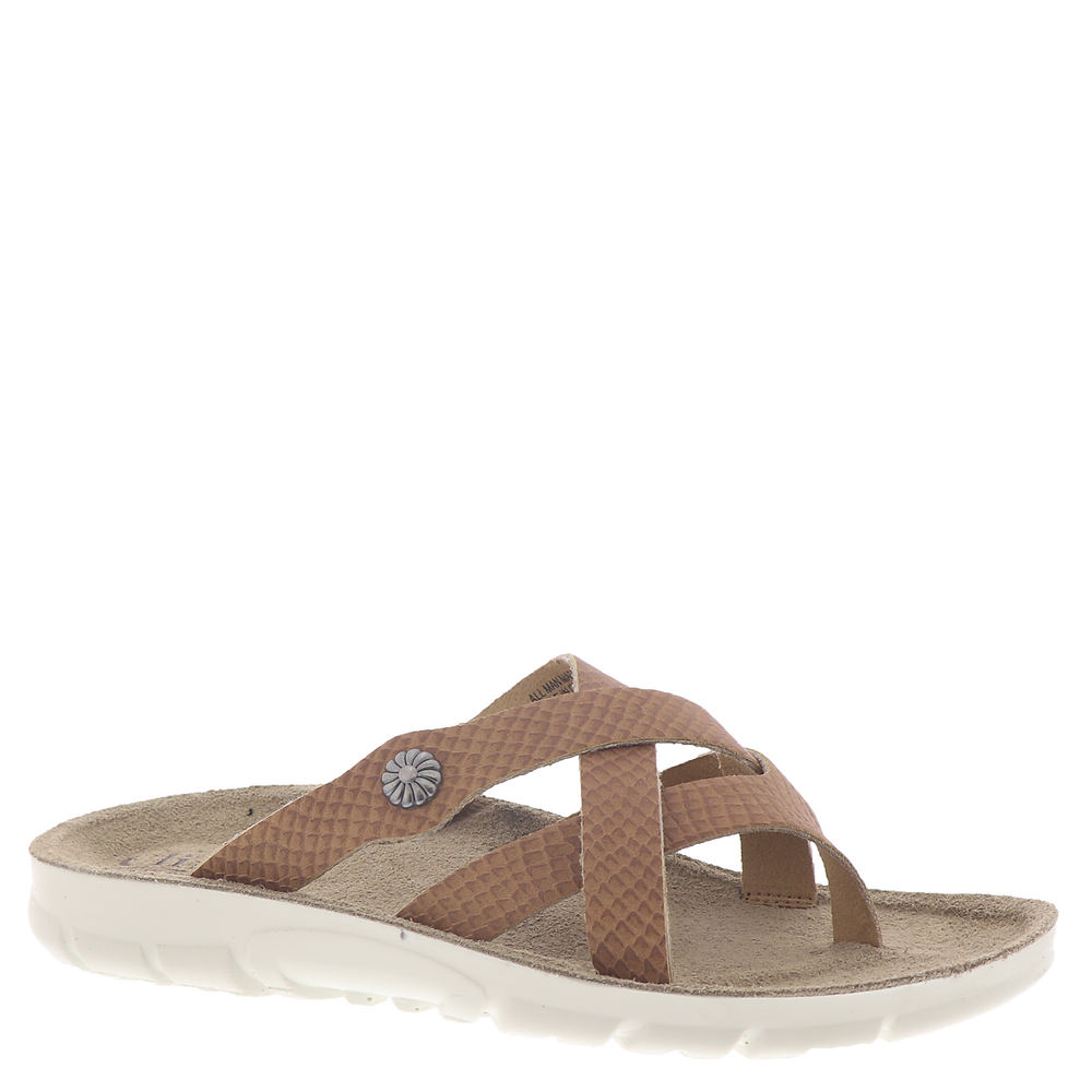 *Faux leather crisscross strappy upper with button accent *Slip-on style *Lightly cushioned footbed *Durable lugged outsole *1/2\\\