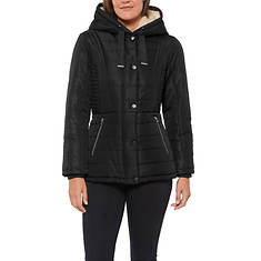 Details Women's Button Front Hooded Jacket
