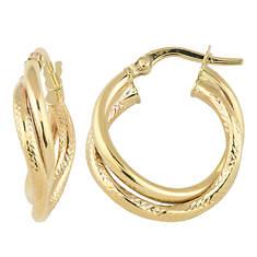 "1"" 10K Gold Double Tube Hoop Earrings"