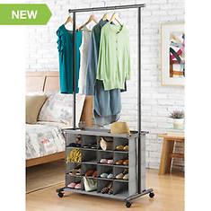 16-Cubby Rolling Garment Storage Rack