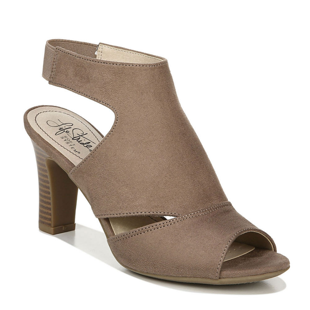 *Faux suede leather upper in a hooded peep toe construction with side cutouts *Slip-on style with stretchy ankle strap for a secure fit *Foam-cushioned footbed for long-lasting comfort *Durable traction outsole for added stability *3\\\