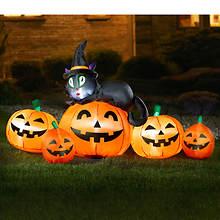 5' Inflatable Black Cat & Pumpkin Family