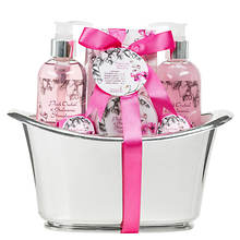 Freida and Joe Large Silver Tub Gift Set in Pink Orchid and Strawberry