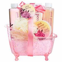 Freida and Joe Pink Glitter Tub Gift Set in Pink Peony
