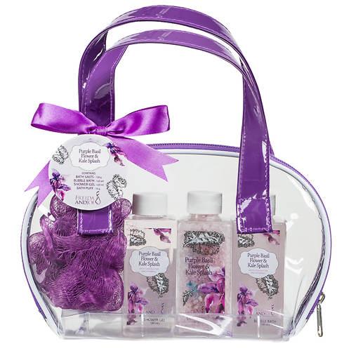 Freida and Joe Bath and Body Gift Set - Purple Basil Flower