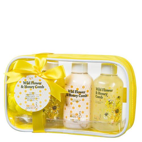 Freida and Joe Yellow Travel Bag Gift Set in Wild Flower & Honeycomb