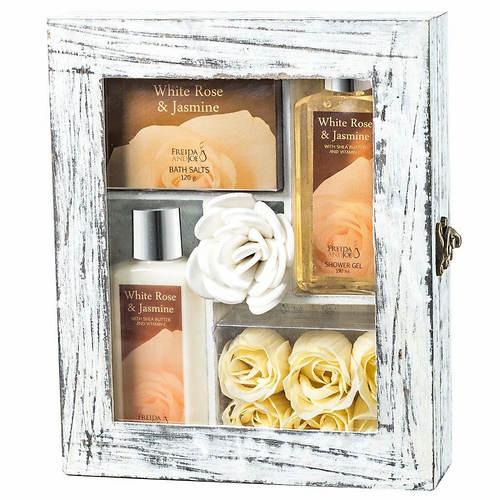 Freida and Joe Distressed White Wood Curio Gift Set in White Rose Jasmine