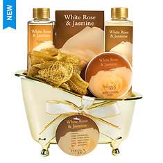 Freida and Joe Gold Tub Gift Set in White Rose Jasmine