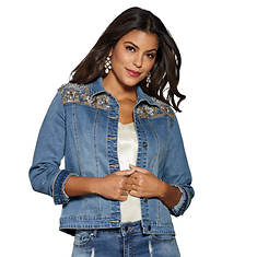 Lace Design Embellished Jacket