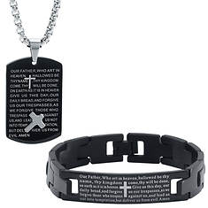 Our Father Prayer Pendant/Bracelet Set