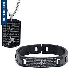 Our Father Prayer Pendant/Bracelet Set