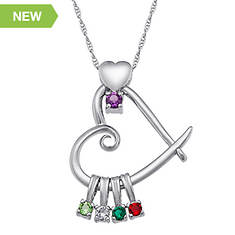 Heart Slider Birthstone Necklace