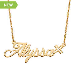 Script Name Necklace with Cross