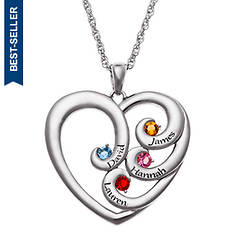 Engraved Heart Family Birthstone Necklace