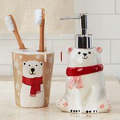 2-Piece Holiday Ceramic Bath Set