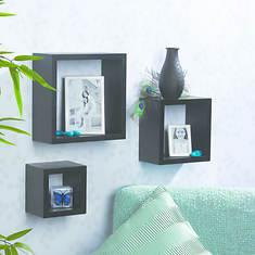3-Piece Wood Square Shelves Set