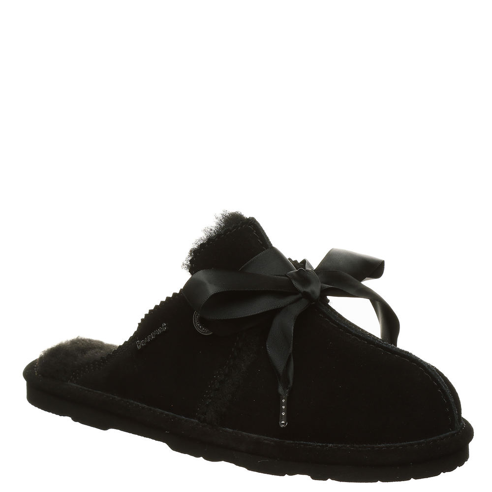 *Soft cow suede leather upper *Treated with NeverWet® technology for water- and stain-resistance *Cozy folded wool-blend faux fur collar *Closed round toe and back *Slip-on style with metal eyelets and adjustable satin laces *Wool blend lining *Comfort wool blend footbed *Lightweight EVA outsole