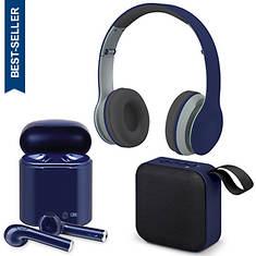 iLIVE 3-Piece Bluetooth Speaker, Headphones & Earbud Set
