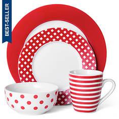 Pfaltzgraff Kenna Red 16-Piece Dinnerware Set