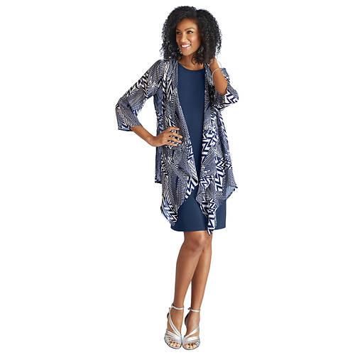Knit Dress With Chiffon Cardigan