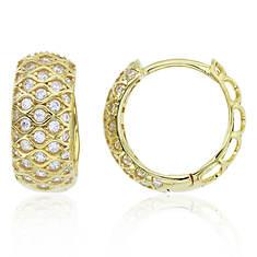 Sterling Silver CZ Ornament Huggie Earrings