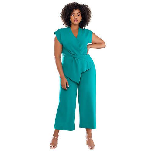 Short-Sleeved Blazer Pant Set