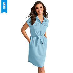 Chambray Tie-Front Dress