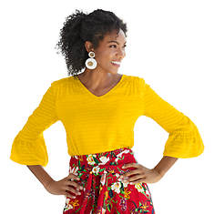 Knit-Back Flutter-Sleeved Shirt