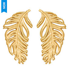 14K Yellow Gold Feather Stud Earrings