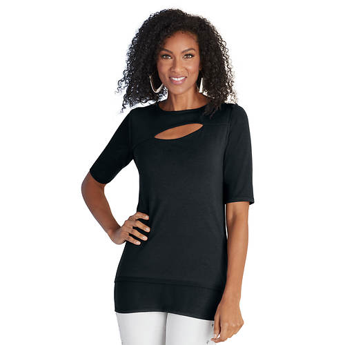 Cutout Elbow-Sleeved Top