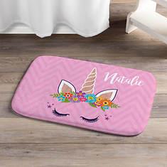 Personalized Happy Unicorn Pink Bath Mat