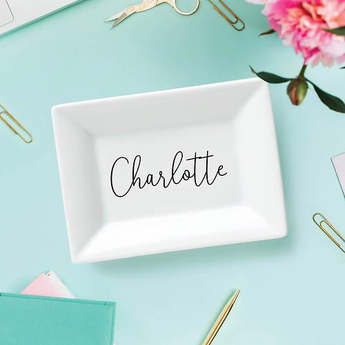 Personalized Script Name Rectangular White Trinket Dish