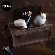 Personalized Leather Toiletry Kit with Embroidered Monogram
