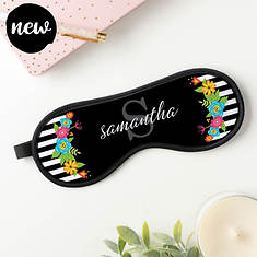 Personalized Floral Stripes Sleep Mask
