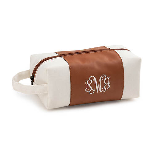 Personalized Faux Leather and Canvas Toiletry Kit with Embroidered Monogram