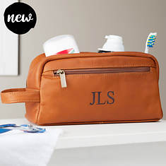 Personalized Leather Shave & Toiletry Kit with Embroidered Monogram