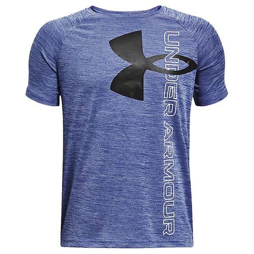 Under Armour Boys' Tech Split Logo Hybrid Short Sleeve